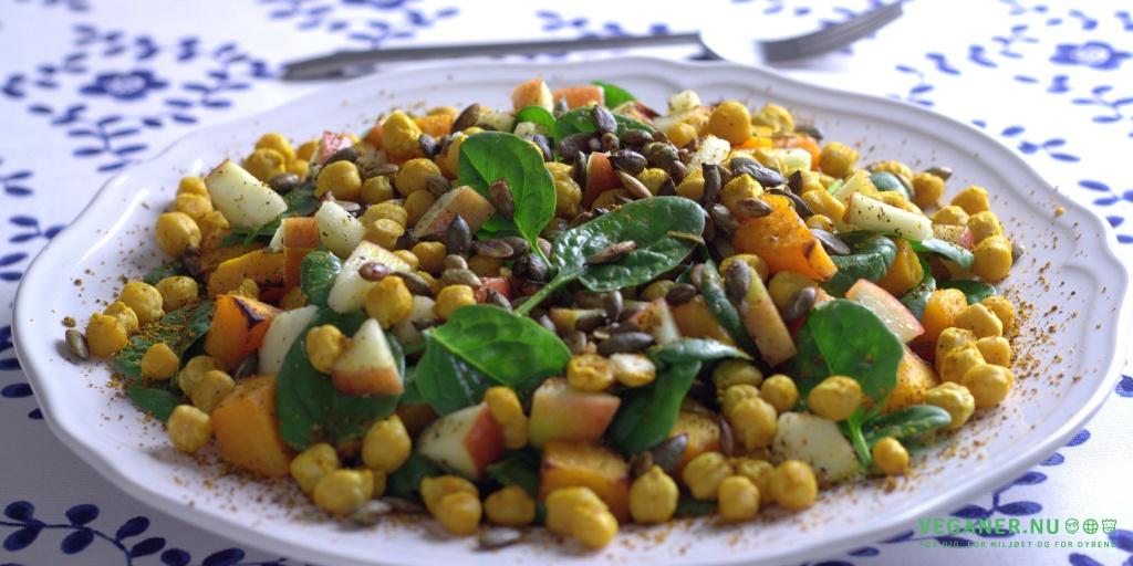 Spinatsalat med bagt græskar