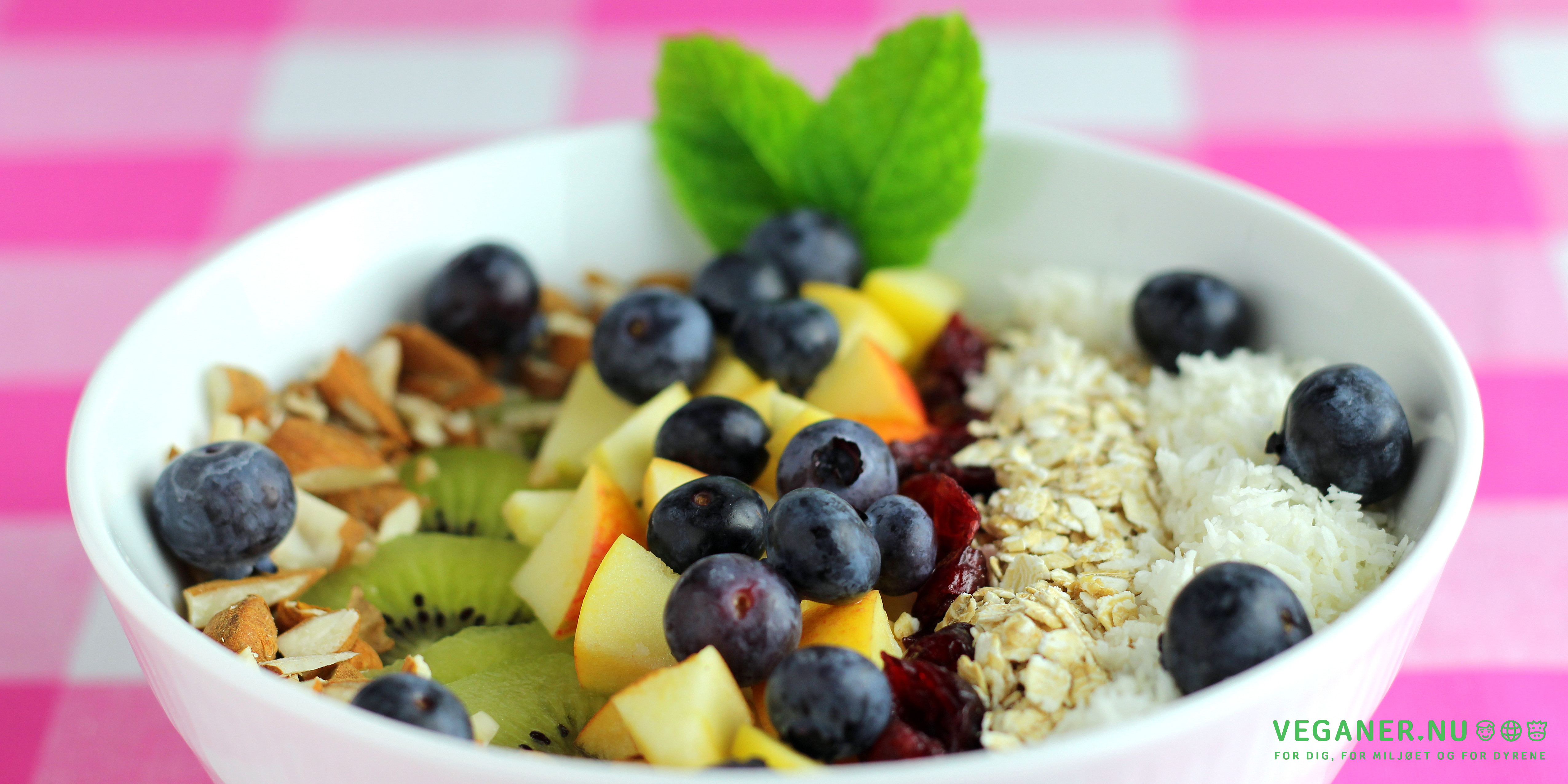 Breakfast Bowl med bananyoghurt, gryn, nødder og frugt