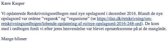 "Veganer.nu får optaget ordene ""veganisme"" og ""vegansk"" i Dansk Sprognævns retskrivningsordbog"